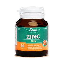 SONA ZINC 25MG TABLETS (60)