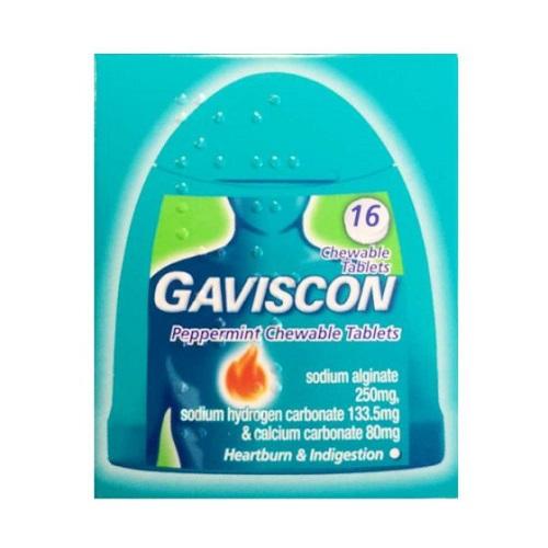 GAVISCON CHEWABLE TABLETS PEPPERMINT HANDYPACK (16)