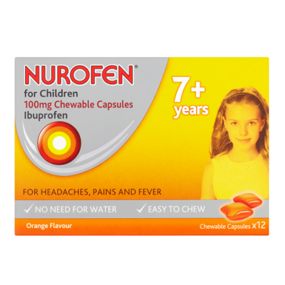 NUROFEN FOR CHILDREN 100MG CHEWABLE CAPSULES IBUPROFEN (12)