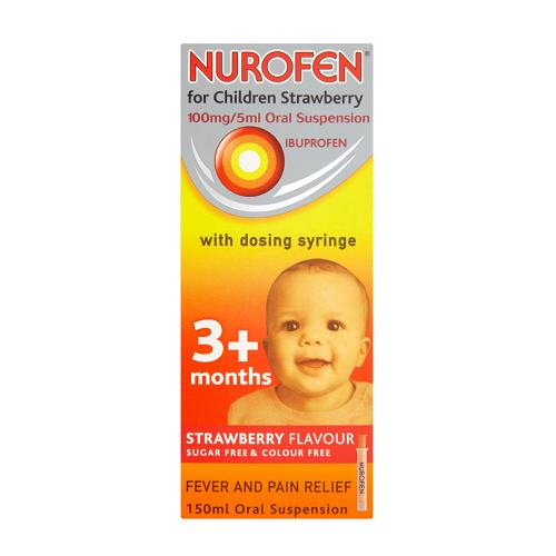 NUROFEN FOR CHILDREN 100MG/5ML IBUPROFEN 3M+ S'BERRY (150ML)
