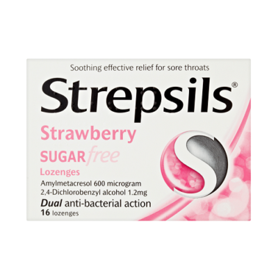 STREPSILS STRAWBERRY SUGAR FREE LOZENGES (16)