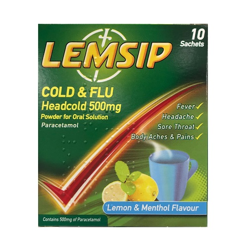 LEMSIP COLD & FLU HEADCOLD SACHETS 500MG (10)