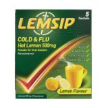 LEMSIP COLD & FLU HOT LEMON SACHETS 500MG (5)