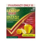 LEMSIP MAX COLD & FLU LEMON 1000MG SACHETS (10)