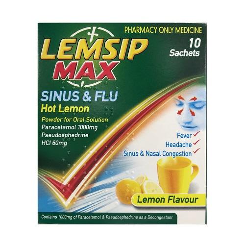 LEMSIP MAX SINUS & FLU SACHETS 1000MG/60MG (10)