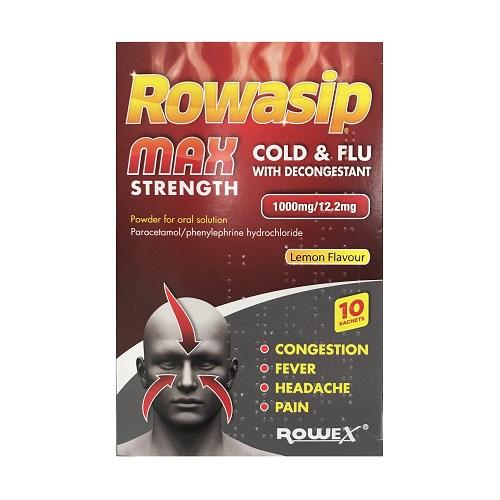 ROWASIP MAX COLD & FLU LEMON SACHETS (10)