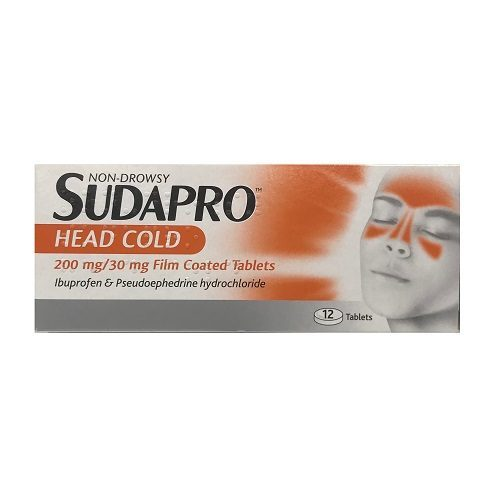 SUDAPRO HEADCOLD TABLETS 200MG/30MG (12)