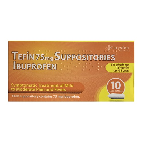 TEFIN 75MG SUPPOSITORIES IBUPROFEN (10)