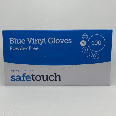 DISPOSABLE BLUE VINYL GLOVES POWDER FREE (100)