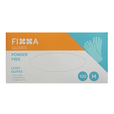 FIXXA LATEX GLOVES POWDER FREE MEDIUM (100)