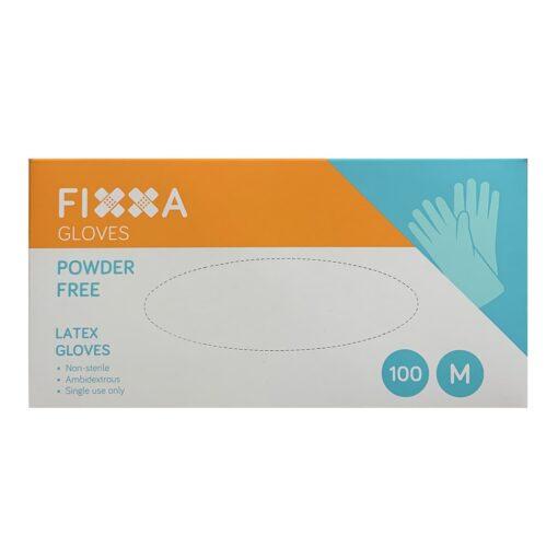 FIXXA LATEX GLOVES POWDER FREE MEDIUM (100)